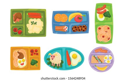 Lunch Box with Different Food Inside Vector Set