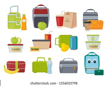 Lunch box. Fruits and vegetables for kids dinner lunch drinks and foods banana juice sandwich product packages vector