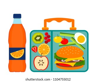 Lunch box with a good lunch for the schoolboy - hamburger, fruit, vegetables and drink. flat vector illustration isolated on white background