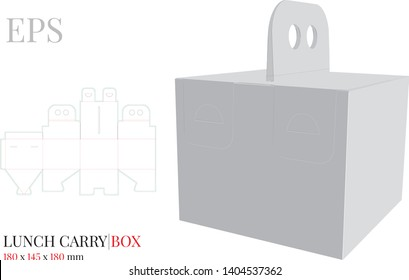Lunch Box with Handle Template, Vector with die cut / laser cut layers. Delivery Box, Self lock Box. White, blank, clear, isolated Lunch Box mock up on white background, perspective view, without glue