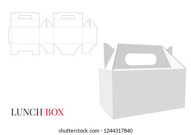 Lunch Box with Handle, Vector with die cut / laser cut layers. Delivery Box Illustration. White, clear, blank, isolated Lunch Box mock up on white background. Packaging design, 3D presentation
