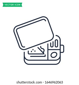 Lunch box line icon isolated on a white background. Reusable metal container with snacks. Outline symbol. Vector lunchbox sign.