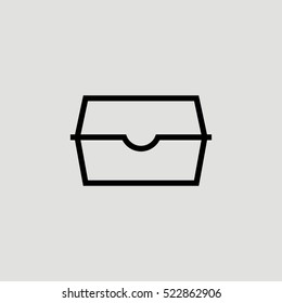 Lunch Box Outline Vector Icon