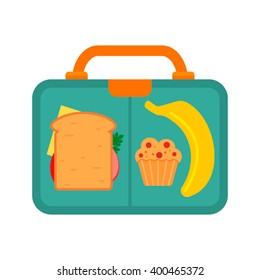 Lunch Box with school lunch: banana sandwich and muffin. Flat vector illustration.