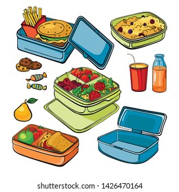 Lunch box set: empty container, veggie shooter, school lunch, fast food, berries porridge, cookies with chocolate, pear, sweets,  fresh juice in a bottle,  soda. Sketch vector objects.