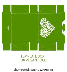 Lunch box vegan food openwork template for laser cutting with a heart element from vegetables.  Paper packaging of vegetarian salads