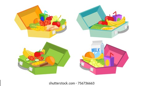 Lunch Boxes Set Vector. Various Ingredients. Healthy Food For Kids And Students.