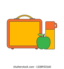 Lunch break or lunch time. Lunch box with school lunch, apple and water. vector illustration