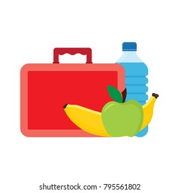 Lunch break or lunch time. Lunch box with school lunch, apple, banana and water. vector illustration