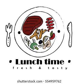 lunch deal logo or label in restaurant. Vector illustration