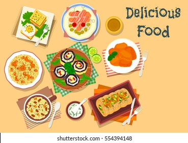 Lunch dishes for festive menu icon with sausage in bacon, ham and egg sandwiches, trout stuffed with mushroom, eggplant roll with cheese, battered fish, wheat with honey, dried fruit and poppy seed