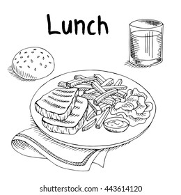 Lunch food meat steak French fries salad graphic art black white sketch illustration vector