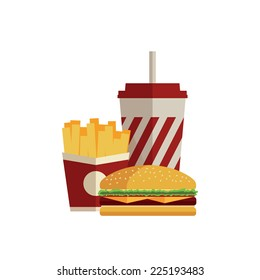 Lunch with french fries, hot dog and soda takeaway on isolated background. Fast food. Flat design. Vector Illustration