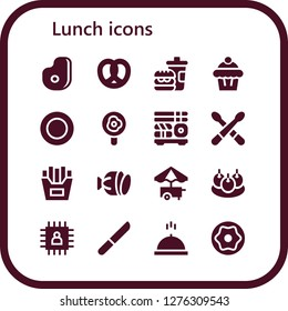 lunch icon set. 16 filled lunch icons. Simple modern icons about  - Meat, Pretzel, Fast food, Muffin, Plate, Fried egg, Sushi, Drumsticks, French fries, Salami, Food cart, Bitterballen