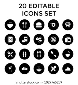 Lunch icons. set of 20 editable filled lunch icons such as spoon and fork, plate fork and spoon, soup, bbq, kebab, dish, menu. best quality lunch elements in trendy style.