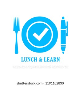 Lunch and learn vector icon on white background