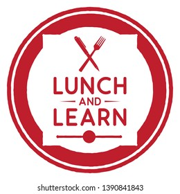 Lunch and Learn. Vector Red Icon.