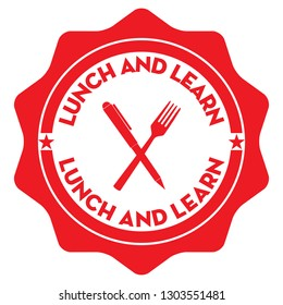 Lunch and Learn. Vector Red Stamp.
