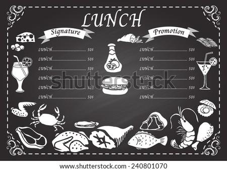 Lunch Menu On Chalkboard Design Template