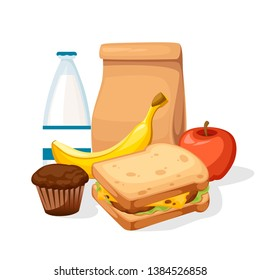 Lunch paper bag with juice, apple and sandwich. Recycle brown paper bag. Flat vector illustration isolated on white background.