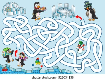 Lunch at penguins. Penguin kids are trying to find a path back to home where parents are waiting with lunch. Labyrinth for kids. Variant with zigzag labyrinth, landscape, easy.