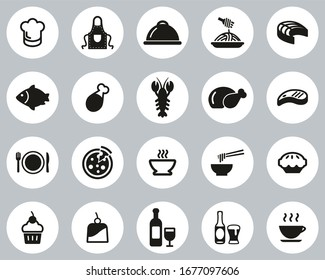 Lunch Or Restaurant Lunch Icons Black & White Flat Design Circle Set Big