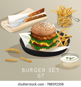 Lunch Set : Burgers and French Fries : Vector Illustration