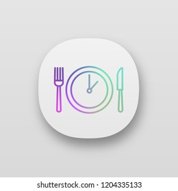 Lunch time app icon. Dinner break. Afternoon business meeting. Business lunch timing and duration. Table knife, fork and plate with clock inside. UI/UX user interface. Vector isolated illustration