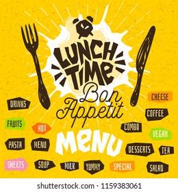 Lunch time, fork, knife, menu. Lettering, calligraphy, logo, sketch style, light rays, craft, pasta, vegan, tea, coffee; deserts, yummy, milk, combo, salad. Hand drawn vector illustration.