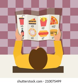 Lunch time. Man ordering meal in fast food cafe. Menu and vector icons in flat design