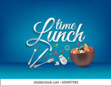 """Lunch time"" paper hand lettering calligraphy. Vector illustration with food objects and text."