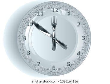 lunch time. plate as clock shows the time lunch