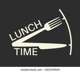 Lunch time text with fork and knife on black background. Lunch break Applicable as part of restaurant, cafe lunch menu. Vector illustration