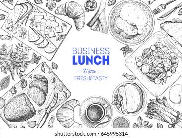 Lunch top view frame. Food menu design. Vintage hand drawn sketch vector illustration.