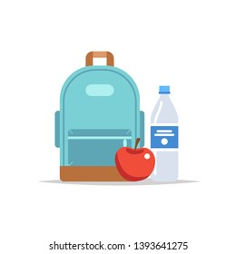 Lunchbox - backpack with a meal, water, and an apple. School meal, children's lunch. Vector illustration in flat style, isolated on white background