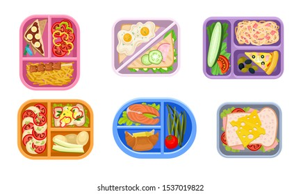 Lunchbox Containers Set With Bright Content. View From Above Lunch Concepts