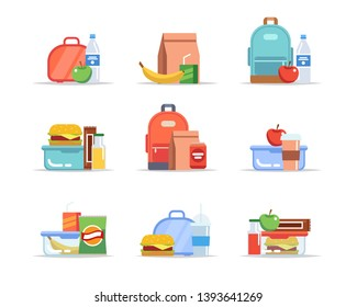 Lunchbox - different types of lunches, school meal and snack, children's lunch trays with fruits, hamburgers, water, juice, soda, chocolate. Vector illustration in flat style
