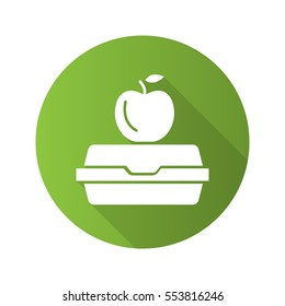 Lunchbox flat design long shadow icon. Apple on lunch box. Vector silhouette symbol