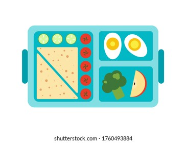 Lunchbox icon. Flat illustration of lunch in a box. Lunch box with healthy food, diet food from vegetables. Colored containers prepare food. Icons. School lunch for a boy.