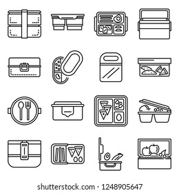 Lunchbox icon set. Outline set of lunchbox vector icons for web design isolated on white background