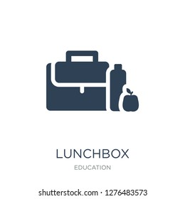 lunchbox icon vector on white background, lunchbox trendy filled icons from Education collection, lunchbox vector illustration