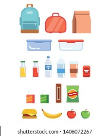 Lunchbox illustration set - different plastic containers, paper bag, bottles, juice, water, fruits, sandwich, backpack. Isolated on white. Vector illustration in flat style