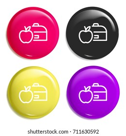 Lunchbox multi color glossy badge icon set. Realistic shiny badge icon or logo mockup