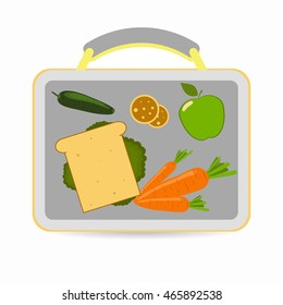Lunchbox with school lunch: sandwich, carrots, apple, cucumber, cookies. Vector illustration