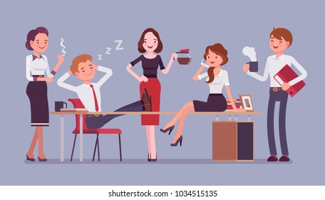 Lunchtime in the office. Team of young workers having a short break during the working day, enjoy time together, drink a cup of coffee or tea, chat and smile. Vector flat style cartoon illustration