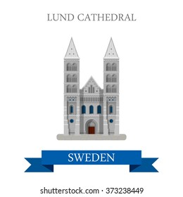 Lund Cathedral in Sweden. Flat cartoon style historic sight showplace attraction web site vector illustration. World countries cities vacation travel sightseeing collection.