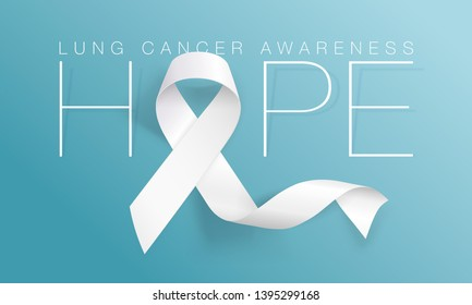 Lung Cancer Awareness Calligraphy Poster Design. Realistic White Ribbon. November is Cancer Awareness Month. Vector Illustration