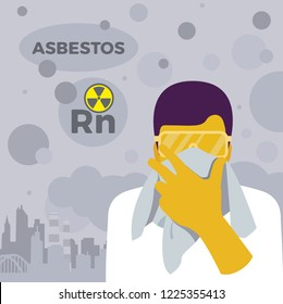 Lung Cancer awareness. Exposure from radon gas, asbestos and air pollution. Illness risk. Vector illustration. Healthcare poster or banner template.