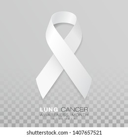 Lung Cancer Awareness Month. White Color Ribbon Isolated On Transparent Background. Vector Design Template For Poster. Illustration.