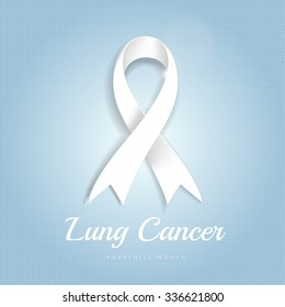 Lung cancer awareness month white ribbon on blue dotted halftone background.